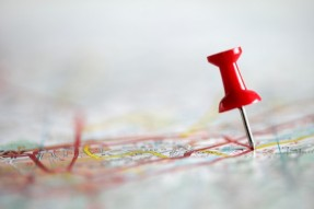 thumbtack in map