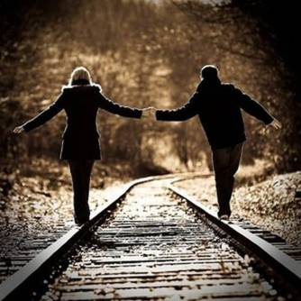 holding hands train track